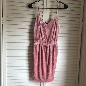Forever 21 pink crushed velvet tank top dress